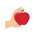 Colorful silhouette hand holding apple fruit