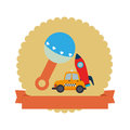 Colorful silhouette with rattle and rocket and car toy in circle with ribbon