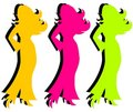Colorful Silhouettes of Women Royalty Free Stock Images