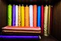 Colorful silk fabrics on roll Royalty Free Stock Photo