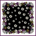 Colorful silk scarf with flowering poppies, orchid and peonies. Black, burgundy, beige on mustard color