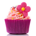 Colorful single cupcake in purple Stock Photos