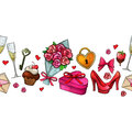 Colorful sketch valentine horizontal border Royalty Free Stock Photo