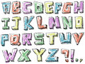 Colorful sketchy hand drawn alphabet set Stock Image