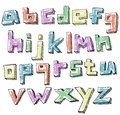 Colorful sketchy hand drawn lower case alphabet set Royalty Free Stock Photography