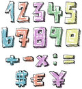 Colorful sketchy hand drawn numbers math and currency signs Royalty Free Stock Photos