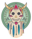 Colorful skull with horns and feathers. Sacred geometry. T-shirt print