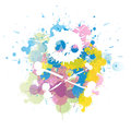 Colorful skull splatter illustration of a Royalty Free Stock Photography