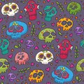 Colorful skulls seamless pattern for textile, wrapping, fabric, wallpapers and other surfaces. Holy Death texture.