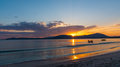Colorful sky at sunset in Alghero shore Royalty Free Stock Photo