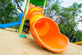 Colorful slider tunnel in a playground Stock Photo