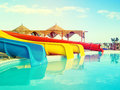 Colorful slides at the water park Royalty Free Stock Photo