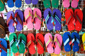 Colorful slippers a group of colorfull at market in thai Stock Photo
