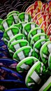 Colorful slippers in rows Royalty Free Stock Photos