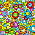 Colorful smiley face flower background Stock Photos