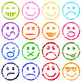 Colorful smiley face rubber stamp vector illustrations Stock Photos