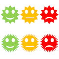 Colorful smileys six starry happy to sad in white background Stock Image