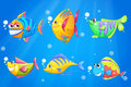 Colorful and smiling fishes under the sea illustration of Royalty Free Stock Photo