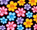 Colorful smiling flowers pattern