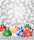 Colorful Snowflake Ornaments on Snow Royalty Free Stock Images