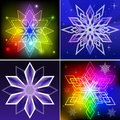 Colorful snowflake shapes set of backgrounds Royalty Free Stock Photo