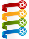 Colorful soccer ball banners set of paper Stock Images