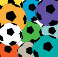 Colorful soccer balls Royalty Free Stock Photo