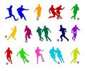 Colorful Soccer Players Stock Photo