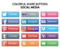 Colorful social media share web buttons