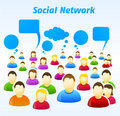 Colorful social network people with speech bubbles Royalty Free Stock Images