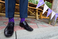 Colorful socks of groom Stock Photos