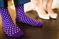 Colorful socks of groom Royalty Free Stock Photo