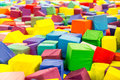 Colorful soft baby cubes closeup