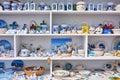 Colorful souvenirs in greece colored shop mykonos Stock Photos