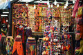 Colorful souvenirs sold as merchandise souvenir in chinatown market displayed Royalty Free Stock Photo
