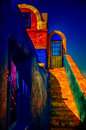 Colorful Spanish Style Architecture with Stairs Royalty Free Stock Photo