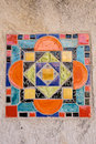 Colorful spanish tile on a public building in san antonio texas Stock Image