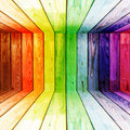 Colorful spectral wooden room Stock Photo