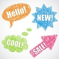 Colorful speech balloons, star and arrow Stock Photos
