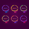Colorful speech bubble set on dark background ask chat signs Stock Photo