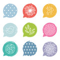 Colorful speech bubble set with floral details Royalty Free Stock Image