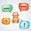 Colorful speech bubbles and funny owls Stock Photography