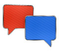 Colorful speech bubbles on white with lined texture isolated background Stock Image