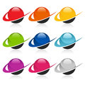 Colorful sphere icons with swoosh graphic elements Royalty Free Stock Photography