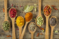 Colorful spices in wooden spoons Stock Photography