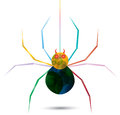 Colorful spider hanging from a web vector create by Royalty Free Stock Photography