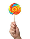 Colorful spiral lollipop isolated on white Royalty Free Stock Photo
