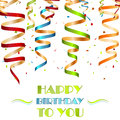 Colorful spiral ribbons, background for your birthday wishes Royalty Free Stock Photo