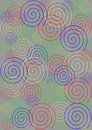 Colorful spirals on grey background in different sizes a Royalty Free Stock Photo