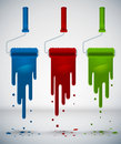 Colorful Splash Paint from Roller Brush Stock Image